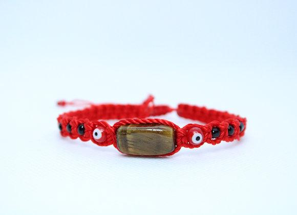 Tigers Eye Red String Bracelet
