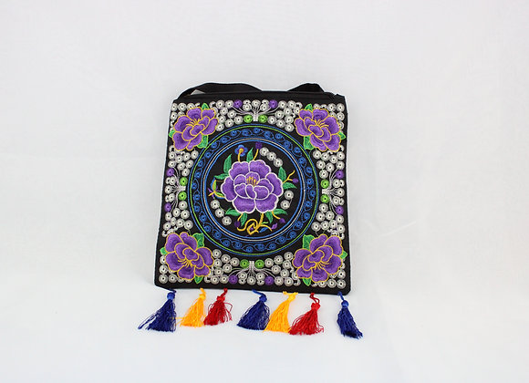 Floral Embroidered Shoulder Bag ( Purple Flower w/ Blue,Yellow, and Red Tassel)