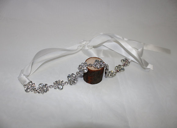 Silver Rhinestone Hair Accessory with White Ribbon