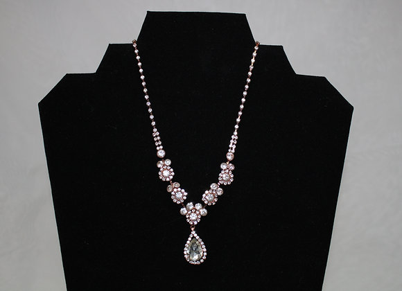 Rose Gold and Silver Necklace and Earring Set