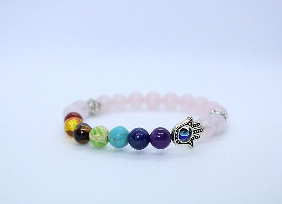 Third Eye Multi-Color Shiny Rose Quartz Bracelet