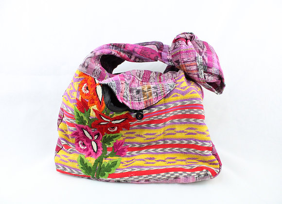 Cross Body Ethnic Bag Flower Design (Red/Pink)