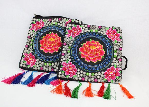 Floral Embroidered Shoulder Bag ( Pink & Yellow Outlined Flower)