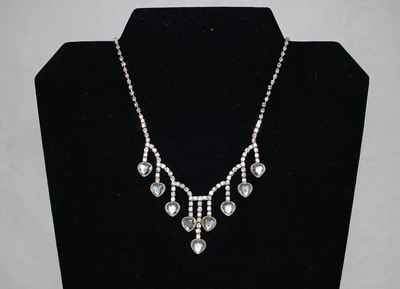 Heart Shaped Rhinestone Necklace and Earring Set