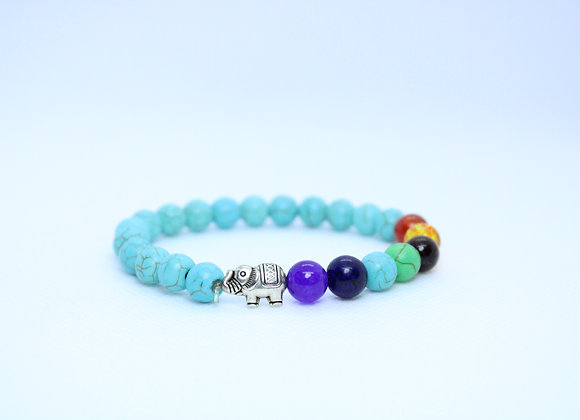Turquoise Multi-Color Stone with Silver Elephant Bracelet