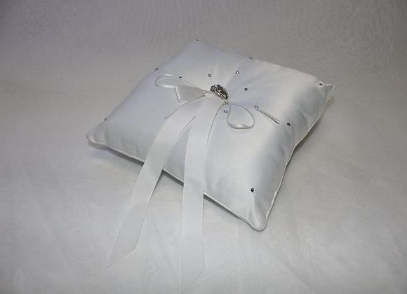 Medium White Ring Pillow with Rhinestones and White Ribbon