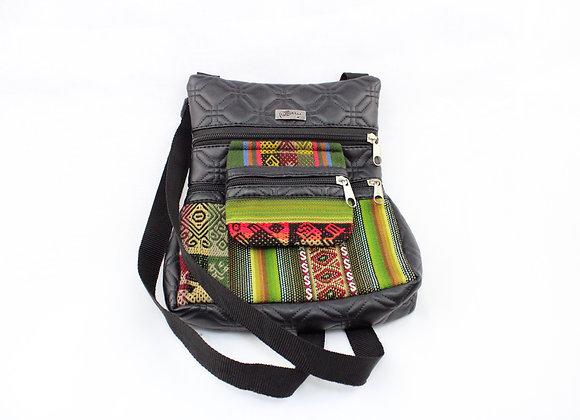 Aztec Mini Stripe Bag (Green/Red/Brown)