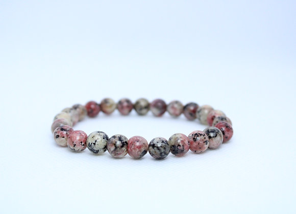 Grey and Red Marble Stone Bracelet