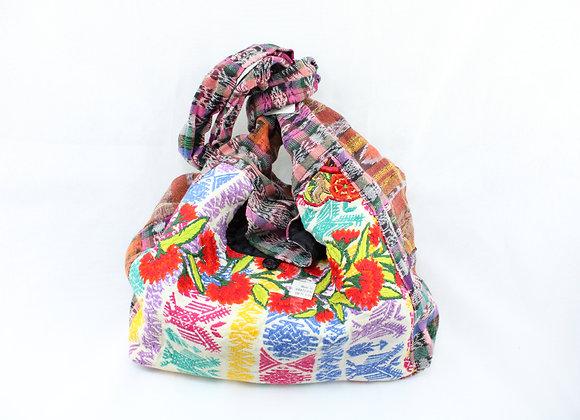 Cross Body Ethnic Bag Flower Design (Brown/Purple)