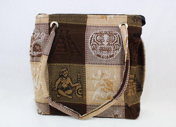 Cultural Brown Checkered Handbag