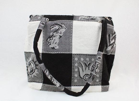Cultural Black and White Checkered Handbag
