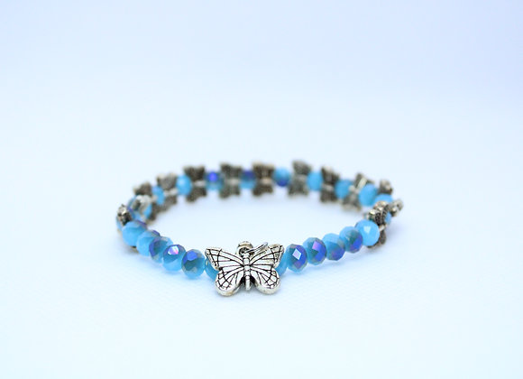 Blue Bead and Silver Butterfly Bracelet