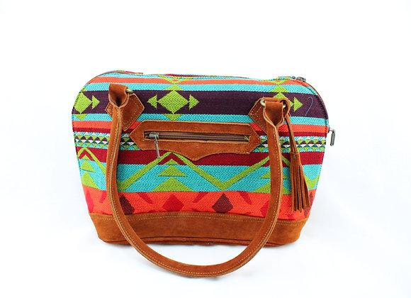 Aztec Handbag ( Purple/Light Blue/Bright Orange)