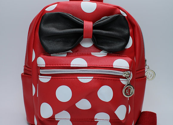 Small Red Polka-Dot w/ Black Bow