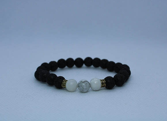 White Bead Lava Rock Bracelets