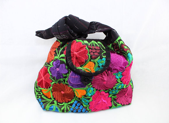 Cross Body Ethnic Bag (Purple/Black with Red, Brown, Purple, Orange Flowers)