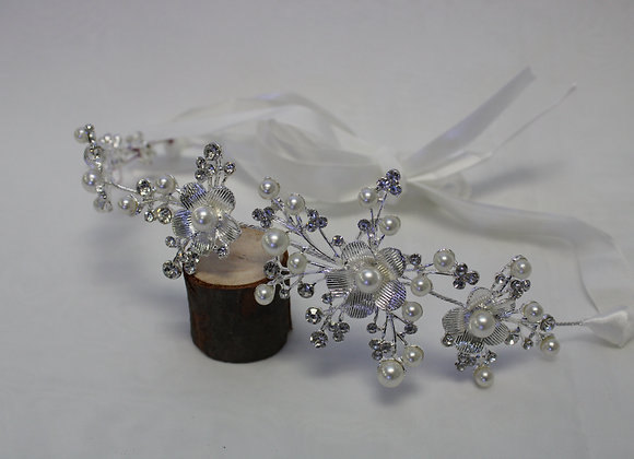 Silver Tiara w/ White Ribbon (Flower Design and Pearls)