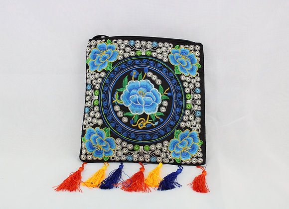 Floral Embroidered Shoulder Bag (Blue Flower)