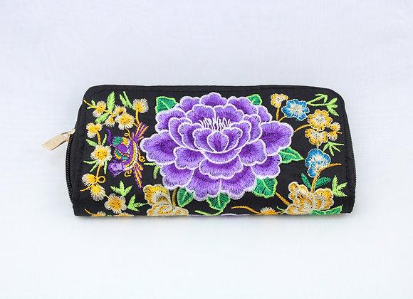 Purple Flower Embroidered Wallet