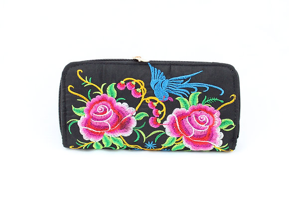 Pink Flower Embroidered Wallet