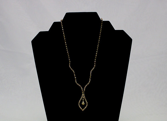 Gold Rhinestone Necklace and Earring Set