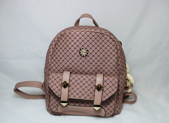Pink/Black Checkered Backpack w/ Bear Accessory