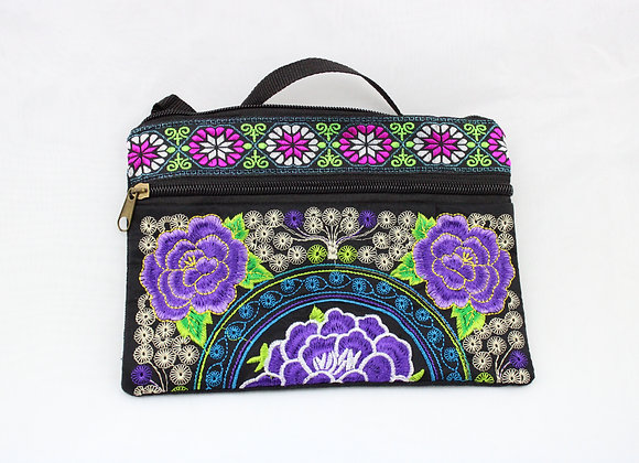 Purple Flower Embroidered Pouch Bag