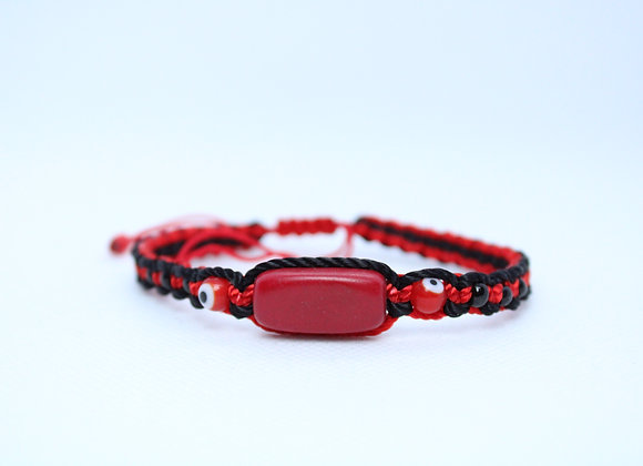 Red Stone Red and Black String Bracelet