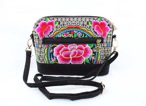 Pink Flower Embroidered Purse