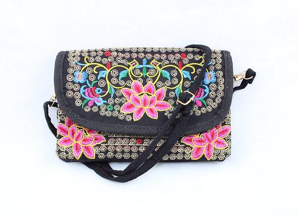 Pink Lotus Embroidered Strap Bag