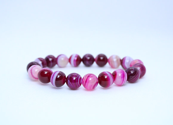 Pink and Red Marble Stone Bracelet