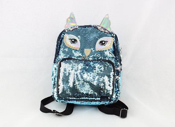 Blue Sequin Owl Backpack