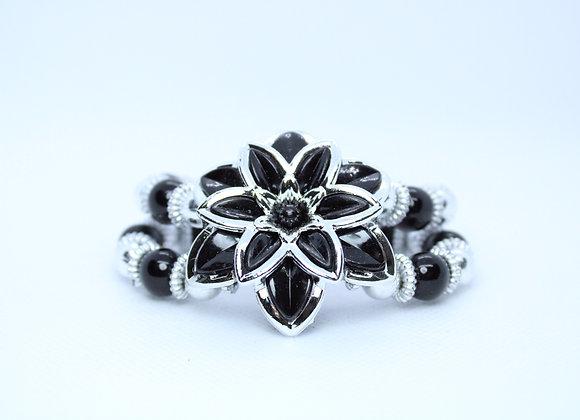 Black and Silver Flower Bracelet