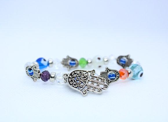 Silver Hamsa Multicolor Bracelet