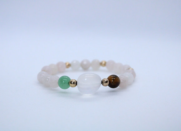 Jade Tiger Eye and Clear Quartz Bracelet