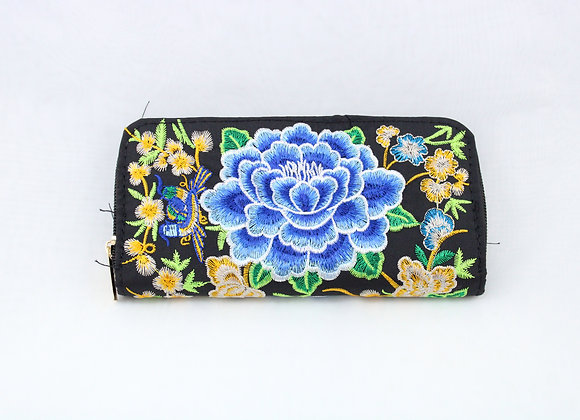 Blue Flower Embroidered Wallet