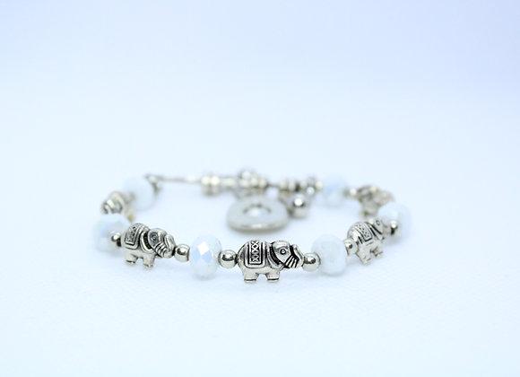 Silver and White Elephant Bracelet