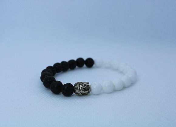 White/Black Bead (Yin-Yang)Lava Rock Bracelet