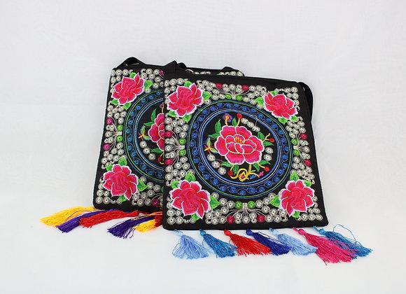 Floral Embroidered Shoulder Bag (Different Tassel Variations)