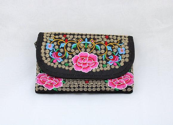 Pink Flower Embroidered Strap Bag
