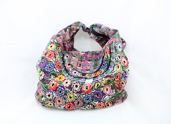 Cross Body Ethnic Bag Flower Design (Pink/Purple)