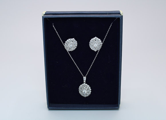 Silver Earring and Necklace Set