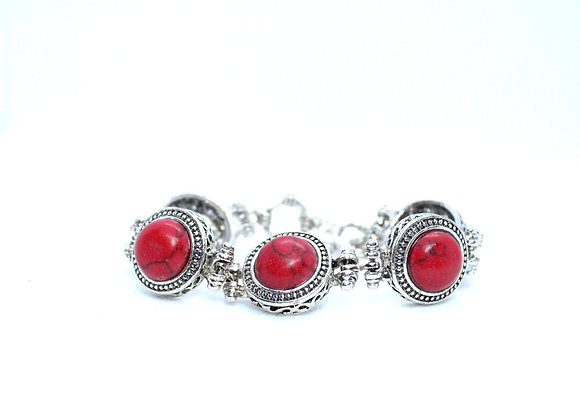 Red Marble Silver Bracelet