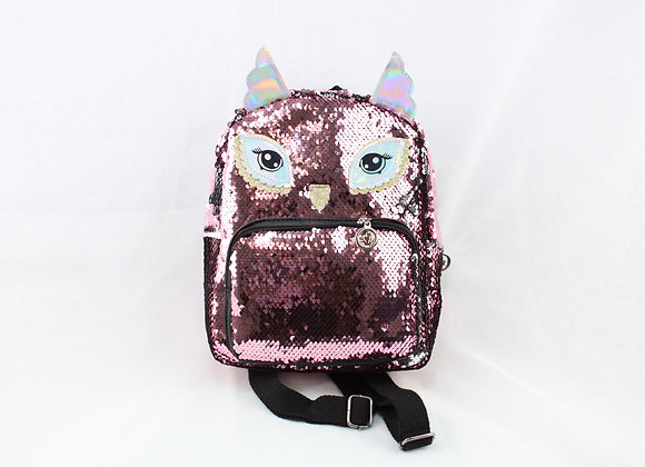 Pink Sequin Owl Backpack