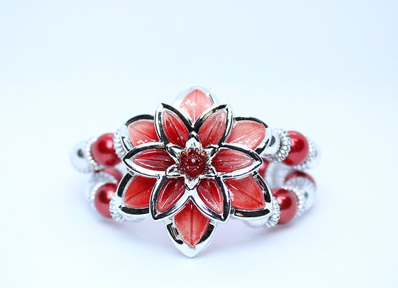 Red and Silver Flower Bracelet