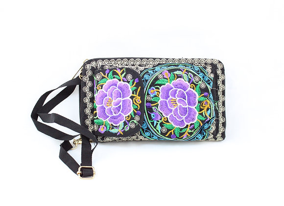 Purple Flower Embroidered Cellphone Walker Bag