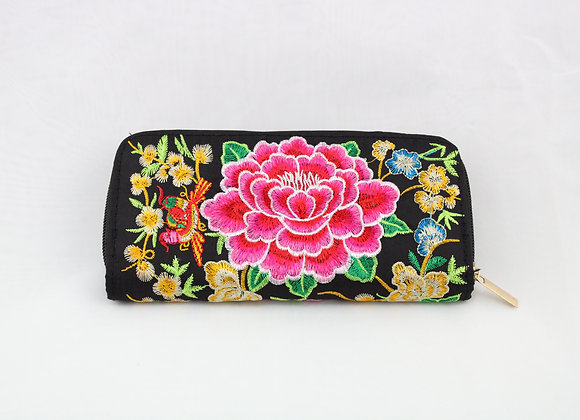 Black And Pink Flower Embroidered Wallet