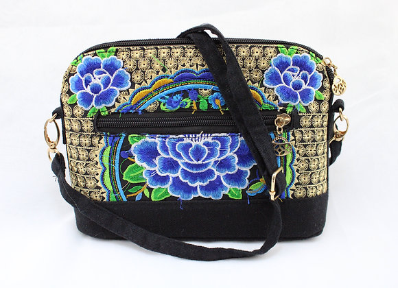 Blue Flower Embroidered Purse