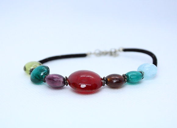 Multi-Color Stone w/ Black Band Bracelet