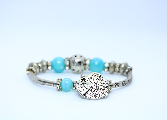 Made With Love Blue and Silver Bracelet